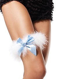Marabou Garter white with blue Bow