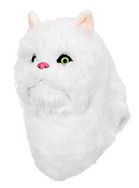 Masque de chat blanc avec bouche mobile