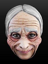 Masque de vieille femme sans menton en latex