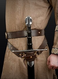 Medieval double wrap sword belt brown