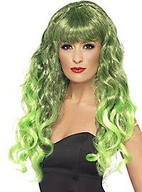 Mermaid Lockenperücke grün-schwarz