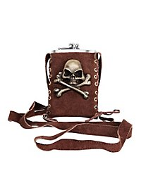 Metal Pirate Hip Flask with Pouch brown