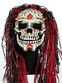 Mexican Floral Skull Leather Half Mask