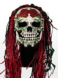 Mexican Rose Skull Leather Half Mask