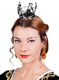 Mini couronne de reine de cœur argentée