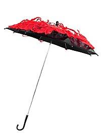 Mini-ombrelle noire avec dentelle rouge