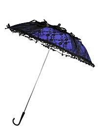Mini-Sonnenschirm blau mit schwarzer Spitze