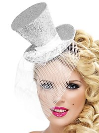 Mini Top Hat Hair Band silver