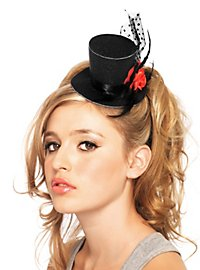 Mini Top Hat with Rose black