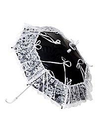 Minischirm mit Spitze schwarz-weiß