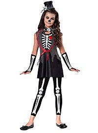 Miss Muerte Skelettkostüm für Kinder