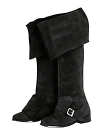 Musketeer Boots, black Suede Leather
