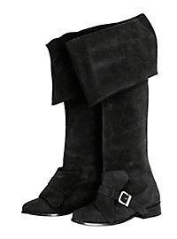 Musketier Stiefel aus Wildleder, schwarz
