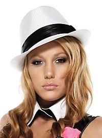 Nadelstreifen Hut weiß