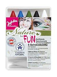 Naturkosmetik Schminkstifte fünf Farben