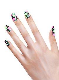 Neon Fingernägel Dots