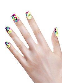 Neon Fingernägel Patchwork