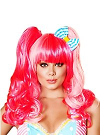 Neon Pink Wig with Pigtail Attachments