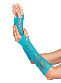 Net Fingerless Gloves neon blue