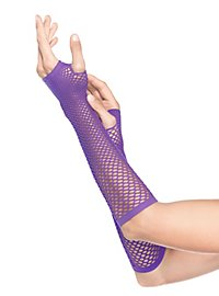 Net Fingerless Gloves neon purple