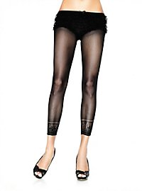 Net Tights with Lace Trim