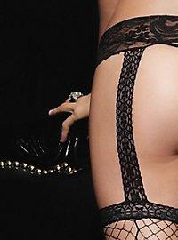 Netzstrümpfe mit Strapsgürtel schwarz