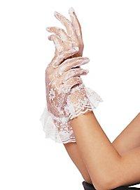 Netzstrumpf Handschuhe mit Bündchen weiß