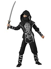 Ninja warrior kid's costume silver dragon