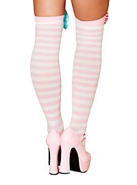 Overknee Strümpfe rosa-weiß geringelt
