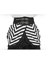Overskirt with peplum and buckles black and white