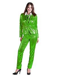 Pailletten Anzug für Damen grün