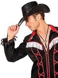 Pailletten Cowboyhut schwarz