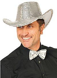 Pailletten Cowboyhut silber