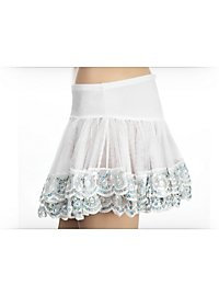 Pailletten Petticoat weiß-silber