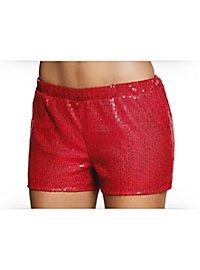Pailletten-Shorts Damen rot