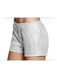 Pailletten-Shorts Damen silber