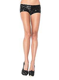 Pailletten-Shorts schwarz