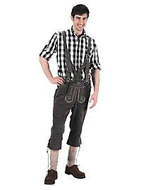 Pantalon en cuir gris longueur genou