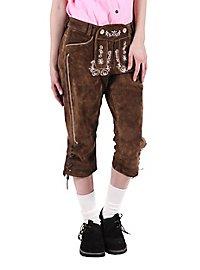 Pantalon en cuir marron Femme longueur genou