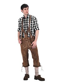 Pantalon en cuir marron longueur genou