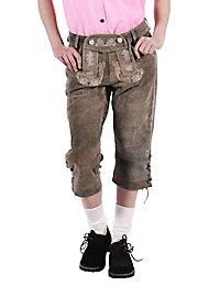 Pantalon en cuir vert Femme longueur ni genou