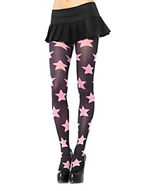 Pantyhose with Stars black-hot pink