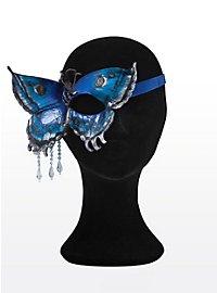 Papillon bleu et doré Loup en cuir un seul côté