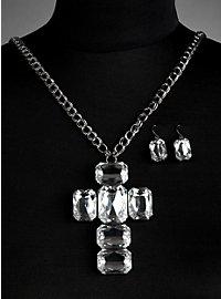 Parure de bijoux « croix» blanche