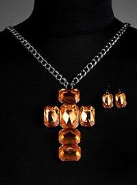 Parure de bijoux « croix » orange