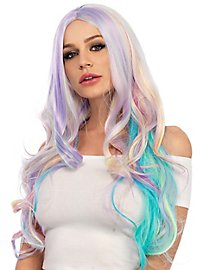 Pastel curly wig rainbow