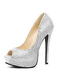 Peep Toe Rhinestone Heels silver