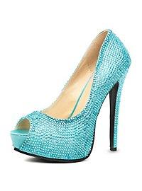 Peep Toe Rhinestone Heels turquoise