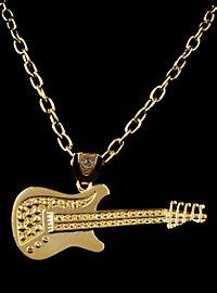 Pendentif guitare de rockstar doré
