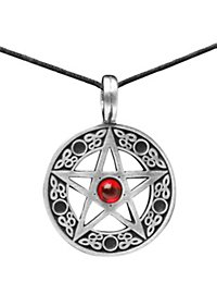 Pentagramm Kette mit rotem Stein